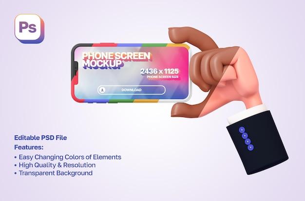 Makieta 3d kreskówka ręka z rękawem pokazująca i trzymająca telefon po prawej stronie w orientacji poziomej