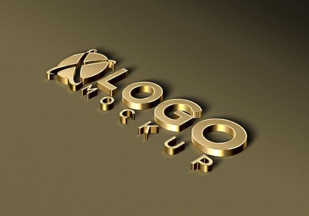 Makieta 3d luksusowe złote logo