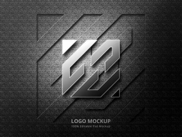 Makieta 3d srebrnego logo i makieta logo wytłaczania