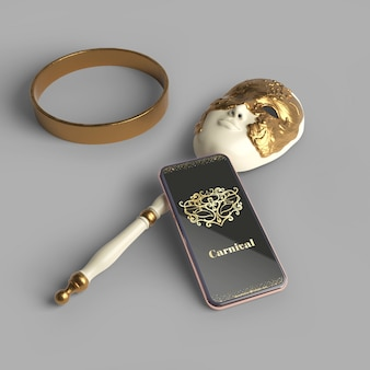 Makieta aplikacji karnawałowej na telefon komórkowy i maska z pierścieniem