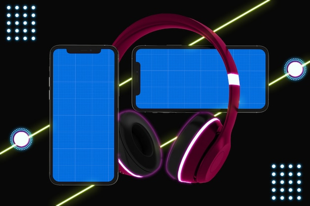 Makieta aplikacji neon mobile music