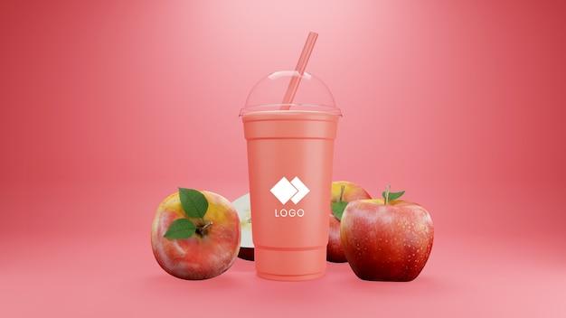 Makieta apple smoothie na białym tle z owocami
