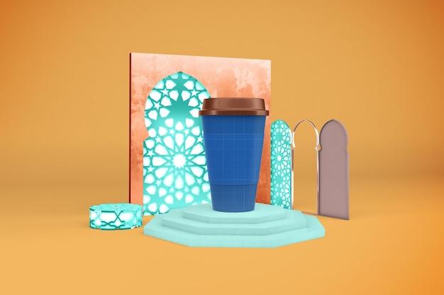 Makieta arabskich filiżanek kawy