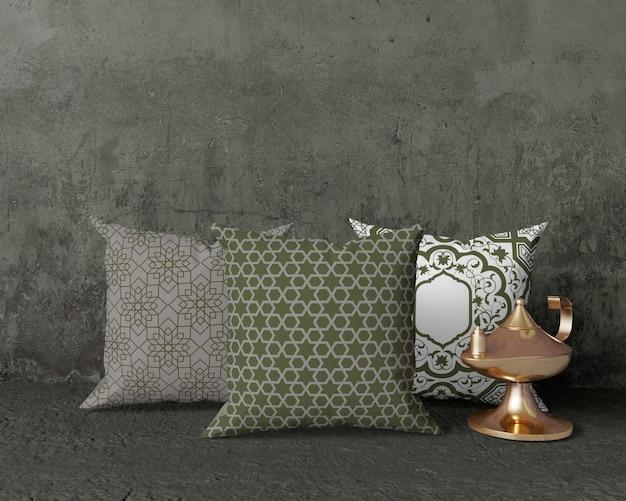 Makieta aranżacji ramadan z poduszkami