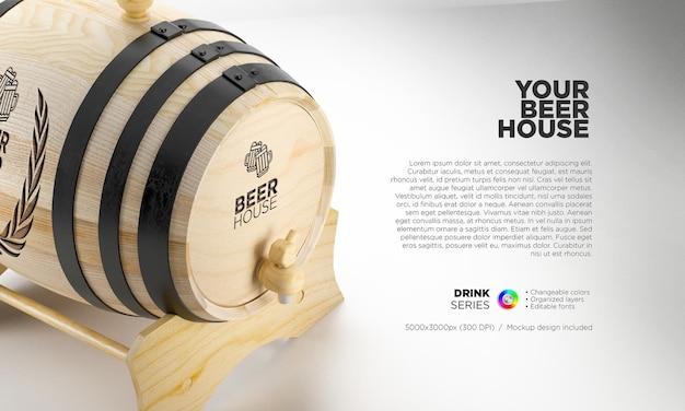 Makieta beczki piwa dla twojej marki i logo