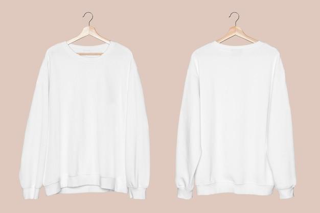 Makieta białego swetra psd unisex streetwearwear