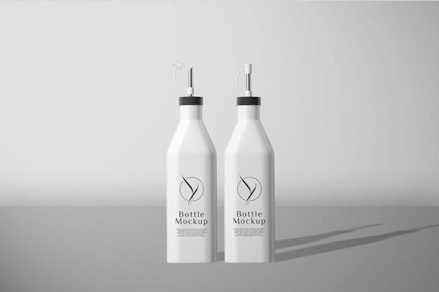 Makieta białej butelki z widokiem z przodu