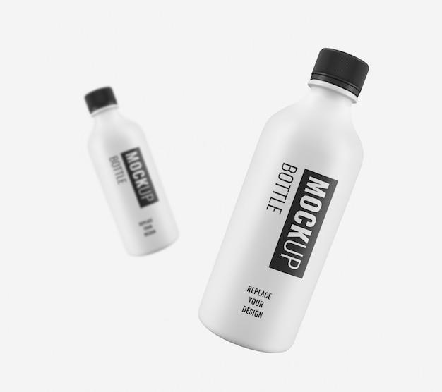 Makieta białej plastikowej butelki