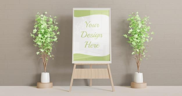 Makieta białej ramki na drewnianym stojaku ze sztalugami z kilkoma dekoracyjnymi roślinami