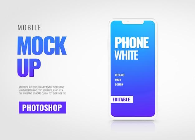 Makieta biały smartfon transparent transparent