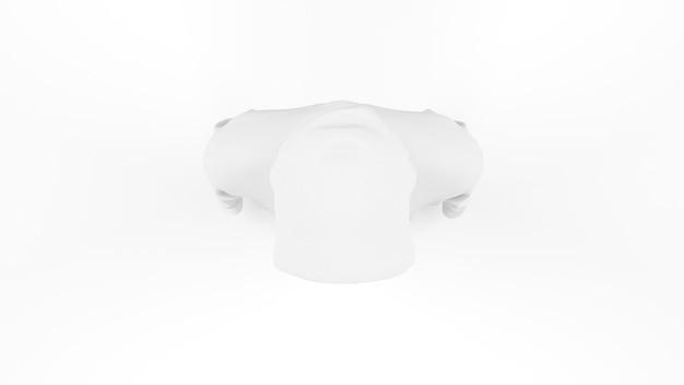 Makieta biały szablon z kapturem na białym tle, widok z góry