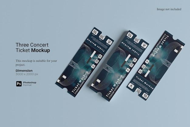 Makieta biletu na trzy koncerty