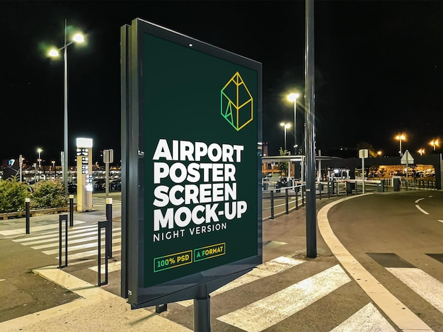 Makieta billboardu airport night street