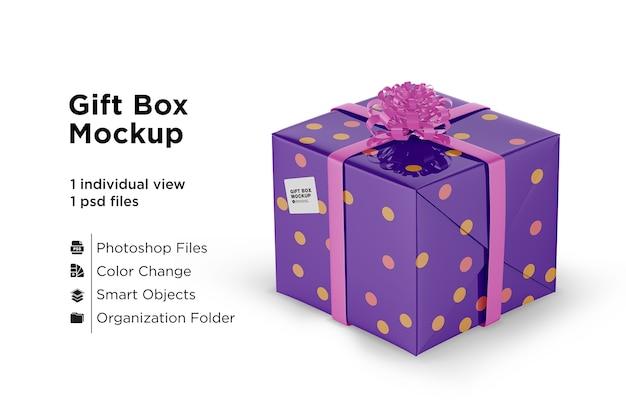 Makieta błyszczącego pudełka na prezent