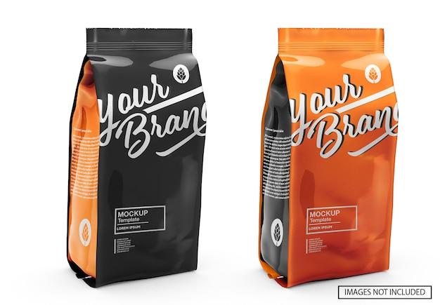Makieta błyszczącej torby na kawę