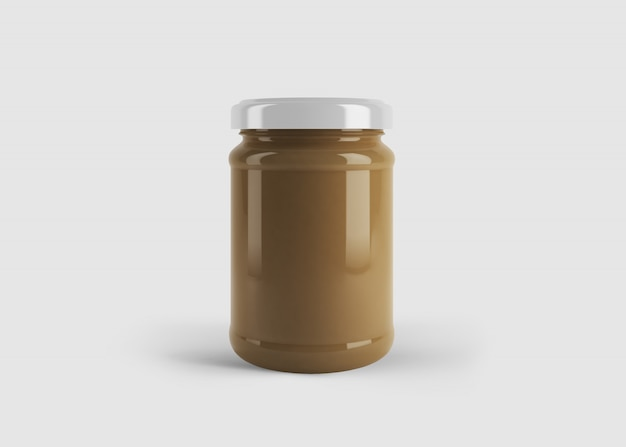 Makieta brązowego słoika z dżemem lub sosem z niestandardową etykietą kształtu w czystej scenie studyjnej
