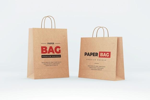 Makieta brązowej torby papierowej zakupy realistyczne
