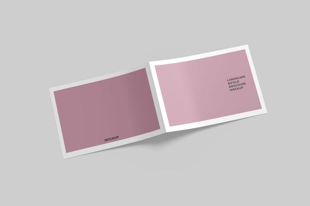 Makieta broszury bifold krajobraz na białym tle