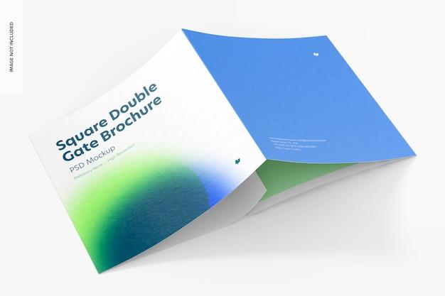 Makieta broszury z podwójną bramą kwadratową, widok z tyłu