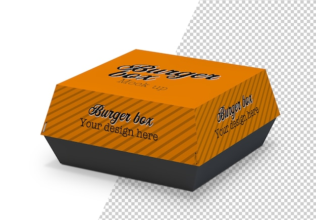 Makieta burger box na białym tle