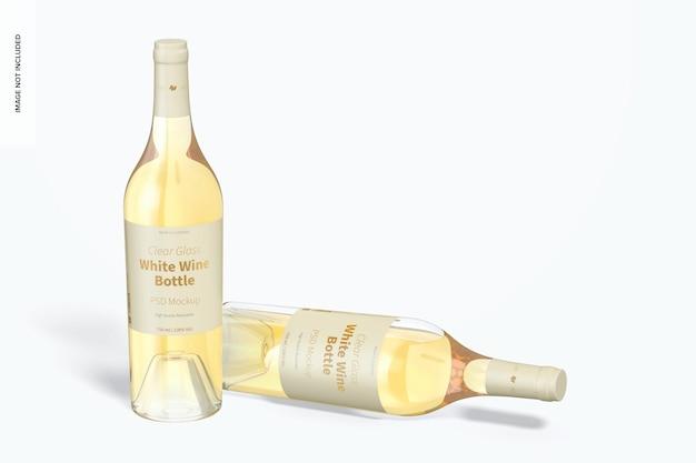 Makieta butelek białego wina ze szkła przezroczystego