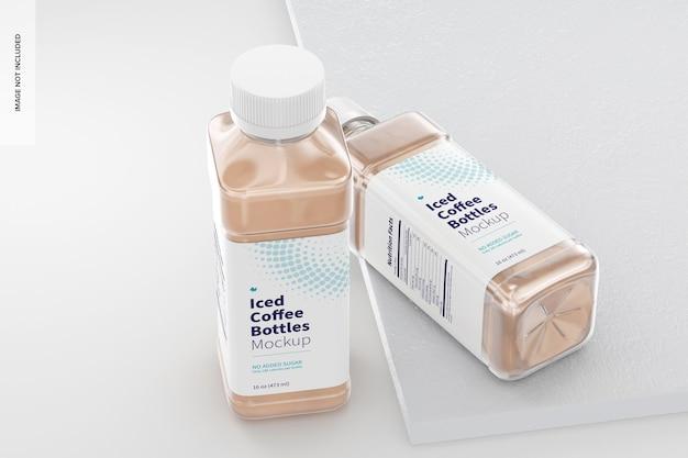 Makieta butelek kawy mrożonej o pojemności 16 uncji, stojąca i upuszczana