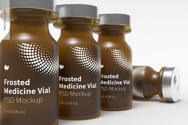 Makieta butelek na fiolki z matowego szkła o pojemności 2 ml, z bliska