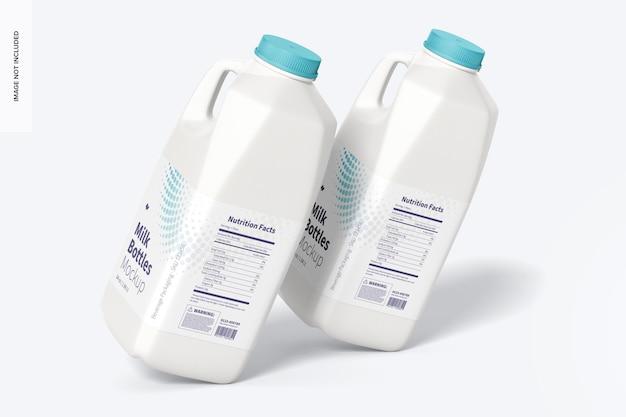 Makieta butelek na mleko o pojemności 64 uncji, pochylona