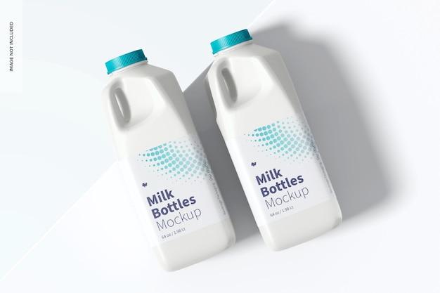 Makieta butelek na mleko o pojemności 64 uncji, widok z góry