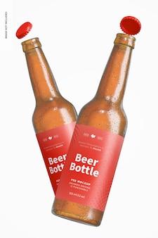 Makieta butelek piwa, pływające