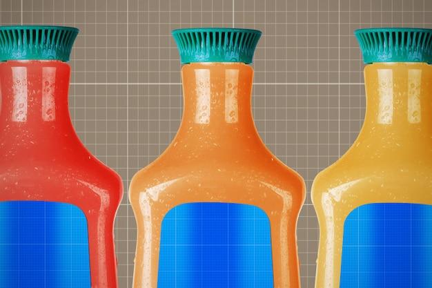 Makieta butelek po sokach