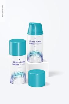 Makieta butelek z pompką bezpowietrzną 100 ml, widok z przodu