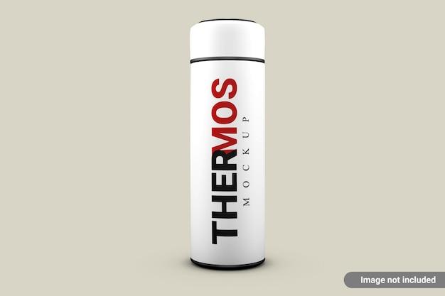 Makieta butelka wody termos na białym tle