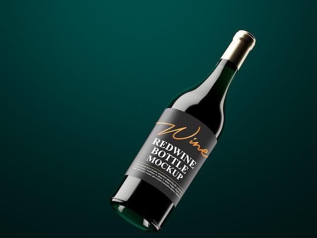 Makieta butelki ciemnego zielonkawego wina