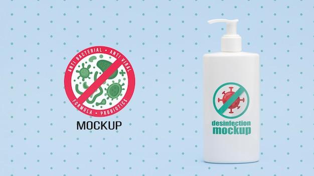 Makieta butelki do dezynfekcji z przodu