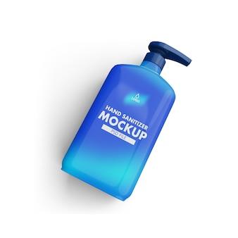 Makieta butelki odkażacza do rąk na białym tle
