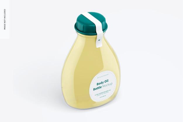 Makieta butelki oleju do ciała, widok izometryczny z prawej strony