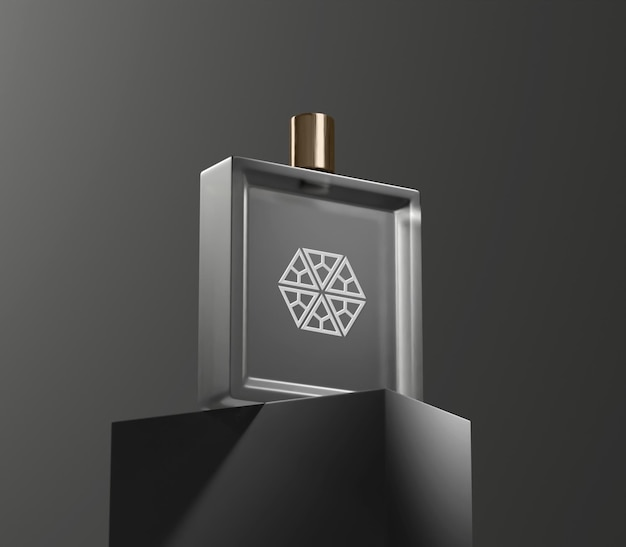 Makieta butelki perfum w ciemnym tle