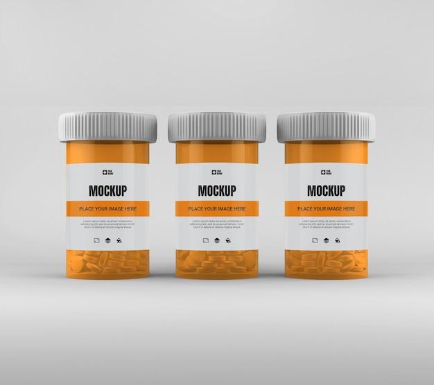 Makieta butelki pigułki leku na białym tle