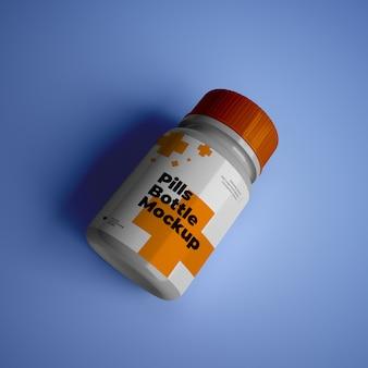 Makieta butelki pigułki z edytowalnym wzorem psd