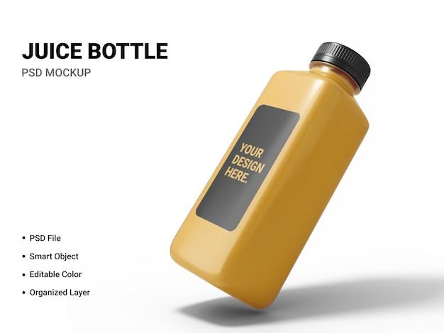 Makieta butelki soku na białym tle