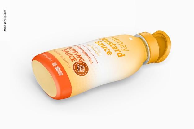 Makieta butelki sosu musztardowego o pojemności 12 uncji, widok izometryczny