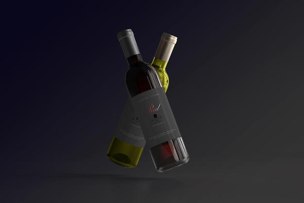 Makieta butelki wina czerwonego i białego