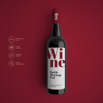 Makieta butelki wina premium psd