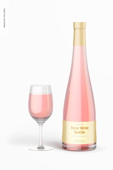 Makieta butelki wina różowego