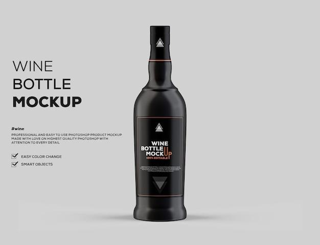 Makieta butelki wina z ciemnego szkła