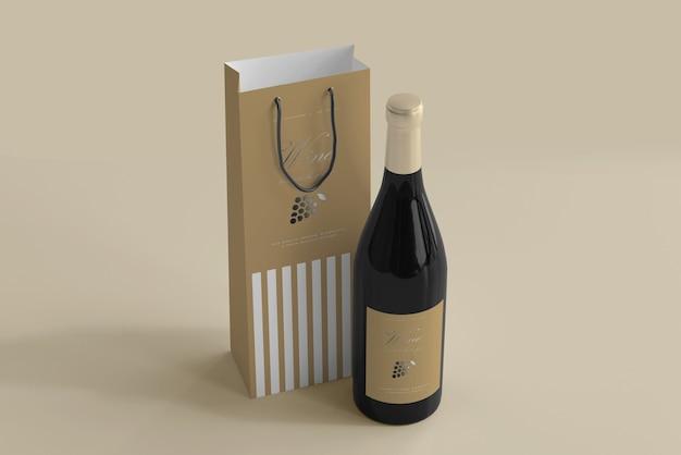 Makieta butelki wina z torbą