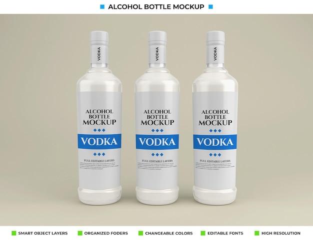 Makieta butelki wódki alkoholowej w koncepcji napoju