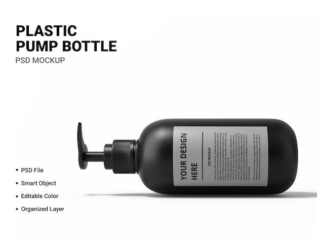 Makieta butelki z pompką z tworzywa sztucznego na białym tle