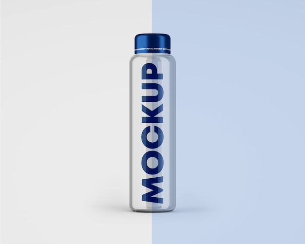 Makieta butelki z przezroczystą szklaną wodą